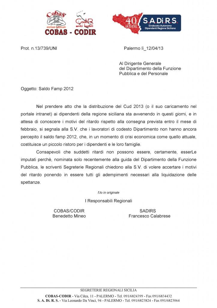 Funzione Pubblica Saldo famp 2012 - lettera congiunta