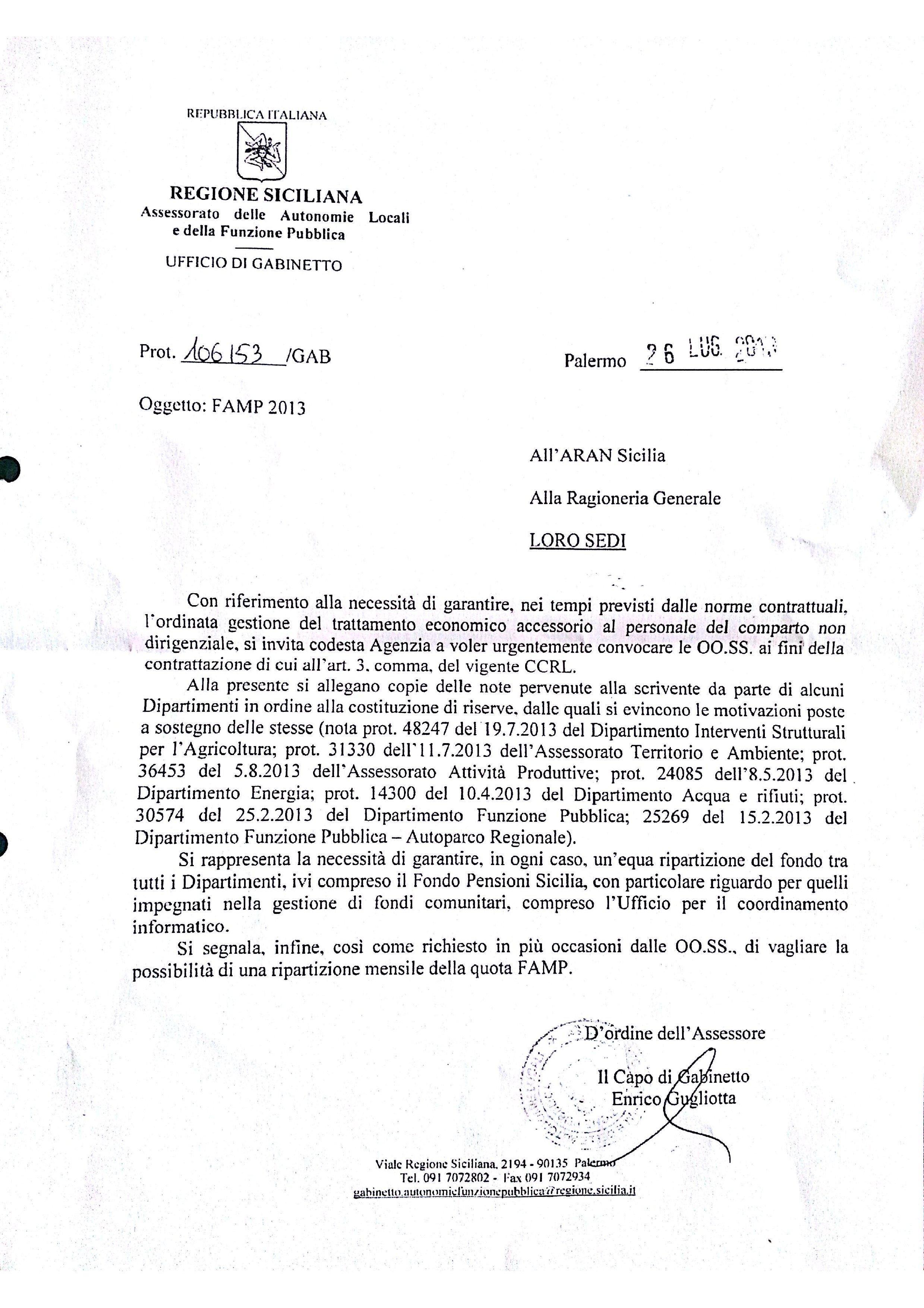 Direttive assessoriali su famp 2013