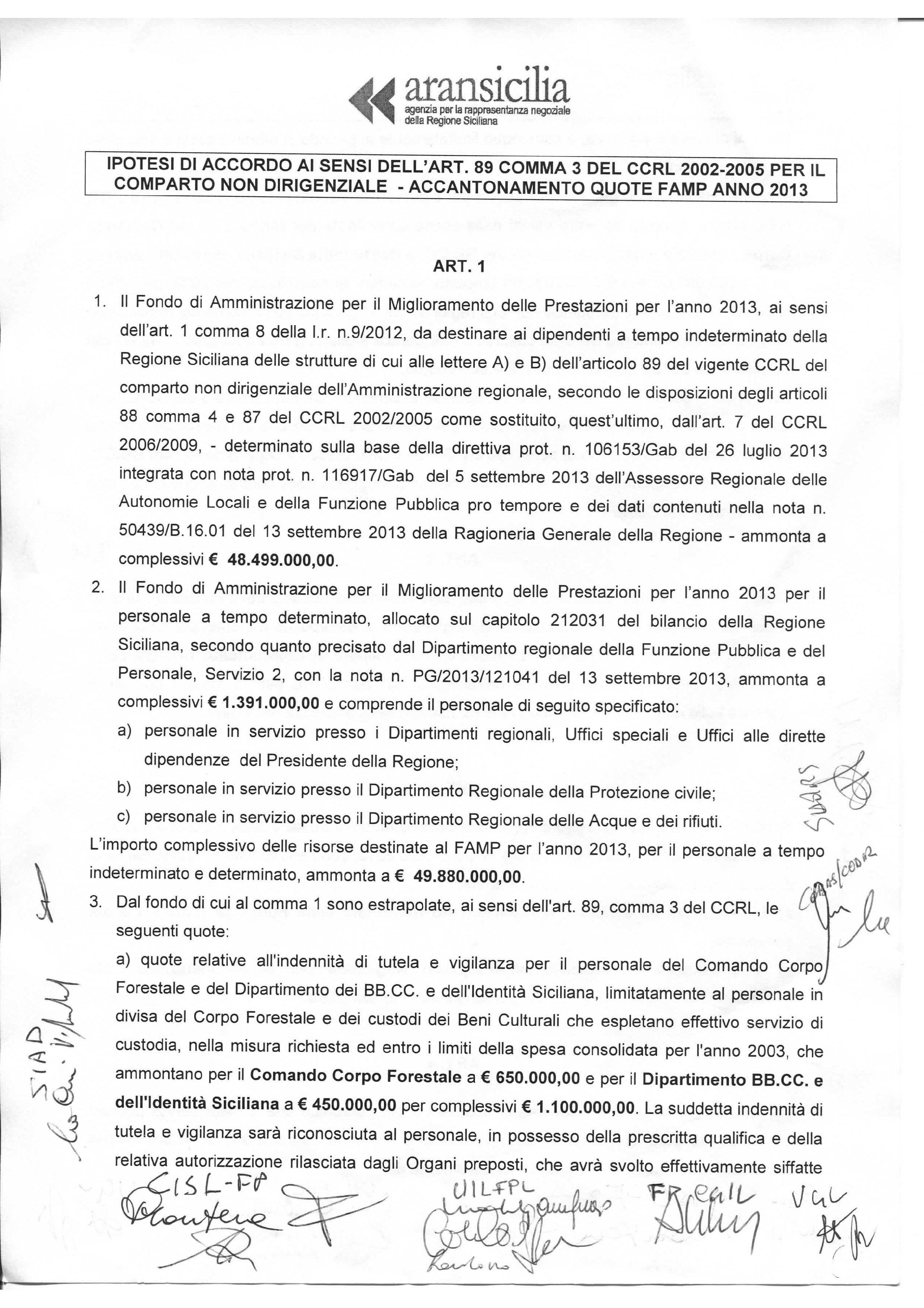 Ipotesi di accordo ai sensi dell'art. 89 comma 3 del CCRL 2002-2005 - Famp 2013