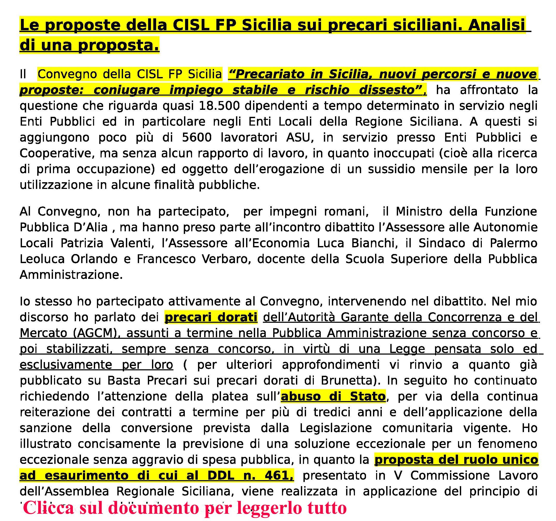Le proposte della CISL FP Sicilia sui precari siciliani. Analisi copia2