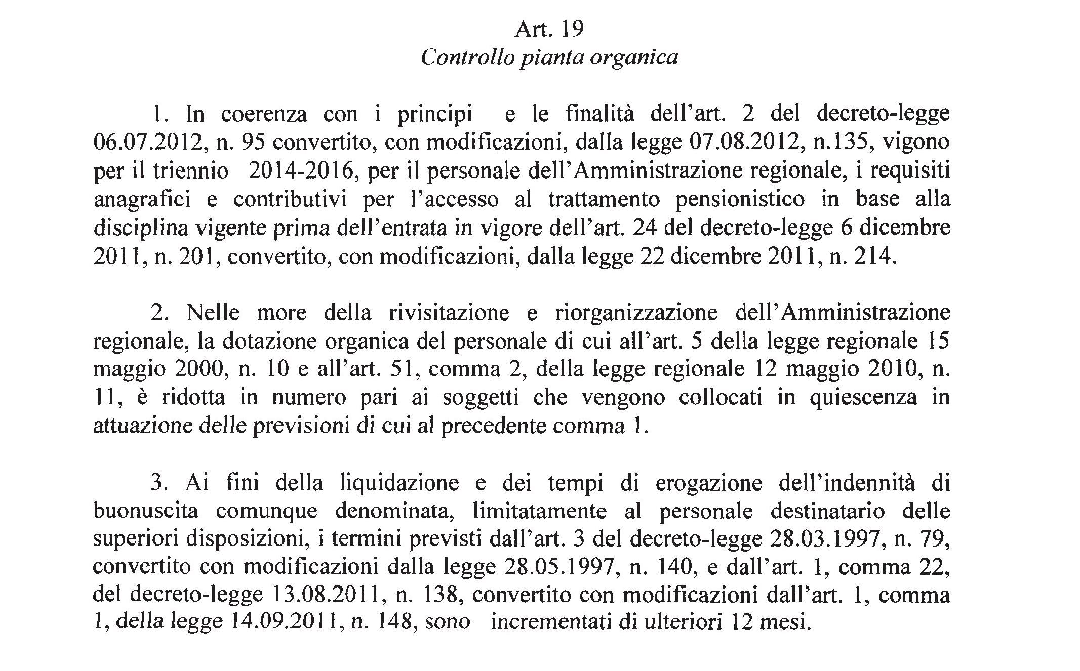 Prepensionamento alla regione ecco cosa prevede l art 19 for Aggiunte di legge