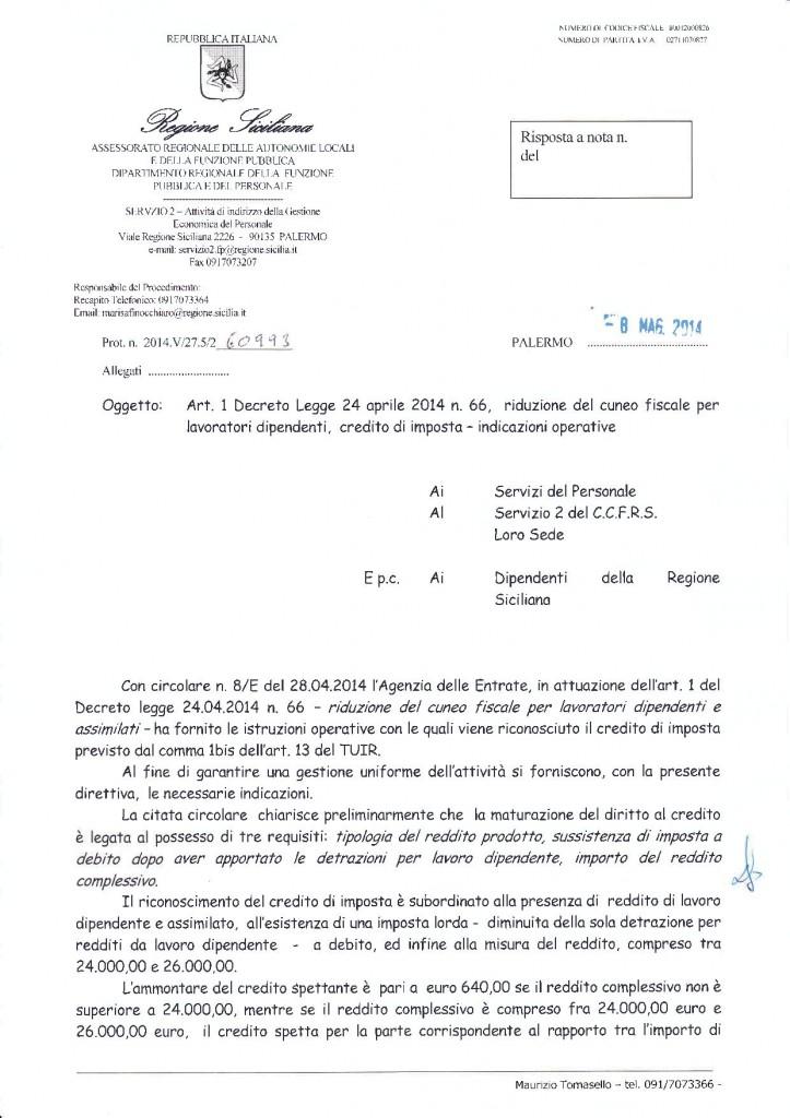 Direttiva 60993 del 8 mag 2014 - art. 1 d.l. 24.04.2014 n° 66, riduzione cuneo fiscale per lavoratori dipendenti, credito di imposta indicazioni operative