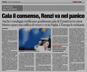 Il Tempo - Cala il consenso per Renzi