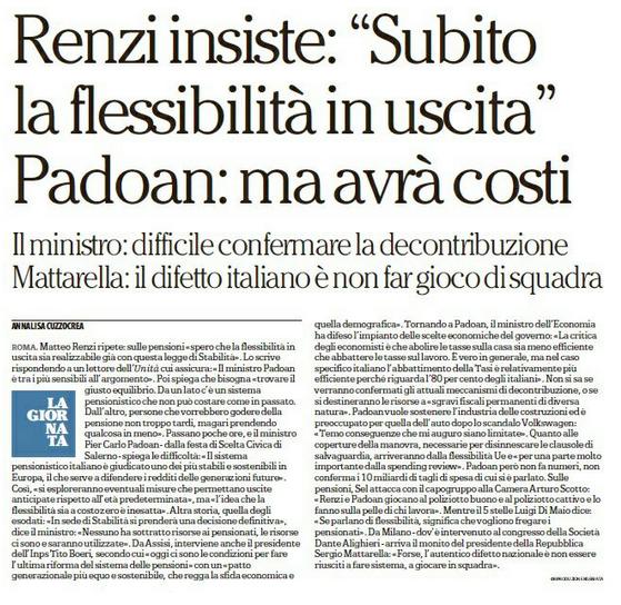 Pensioni. Renzi insiste. subito flessibilità in uscita