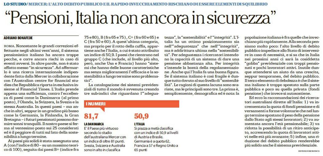Pensioni, l'Italia non ancora in sicurezza