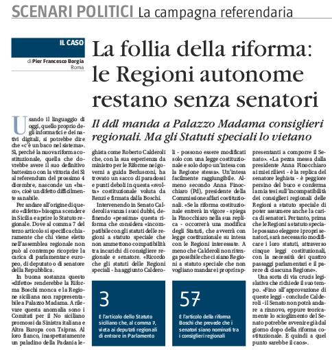 Se dovesse passare la riforma della costituzione la for Elenco senatori italiani