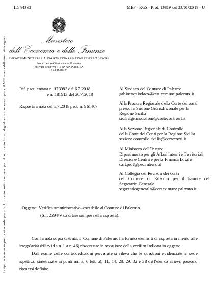Verifica amministrativo–contabile al Comune di Palermo