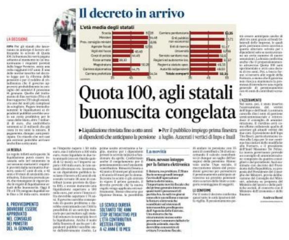Quota 100 per i dipendenti pubblici la liquidazione for Finestra quota 100 dipendenti pubblici